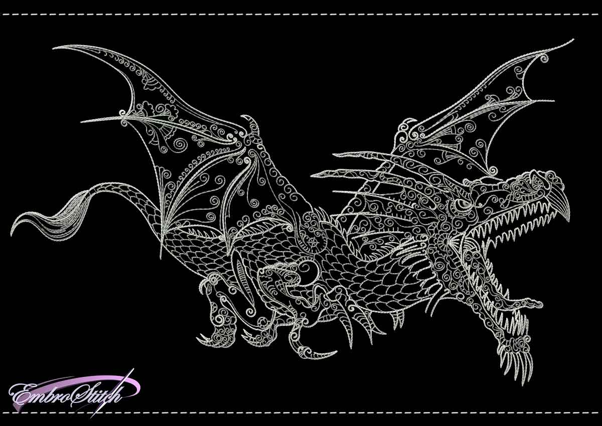 This Dragon Silver Backstitch design was digitized and embroidered by Embrostitch studio