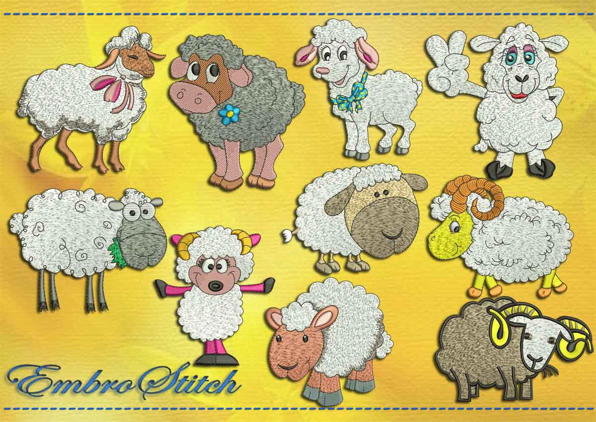 This Exciting Sheep Set design was digitized and embroidered by Embrostitch studio