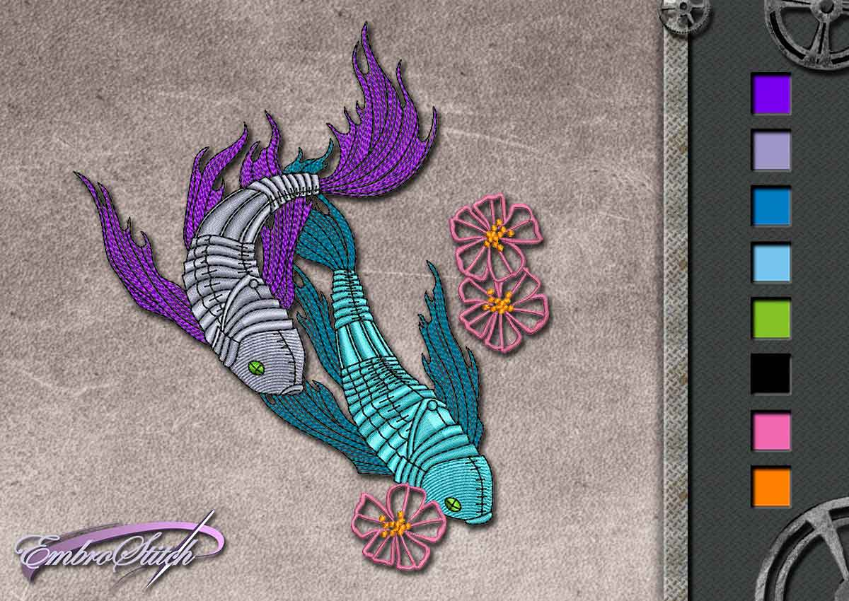 This Fish design was digitized and embroidered by Embrostitch studio