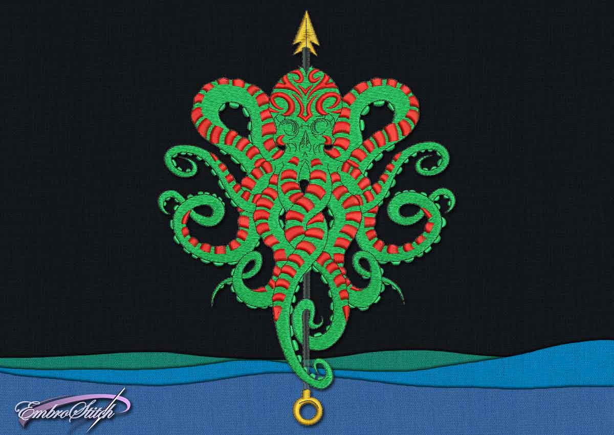 This Octopus Harpoon design was digitized and embroidered by Embrostitch studio