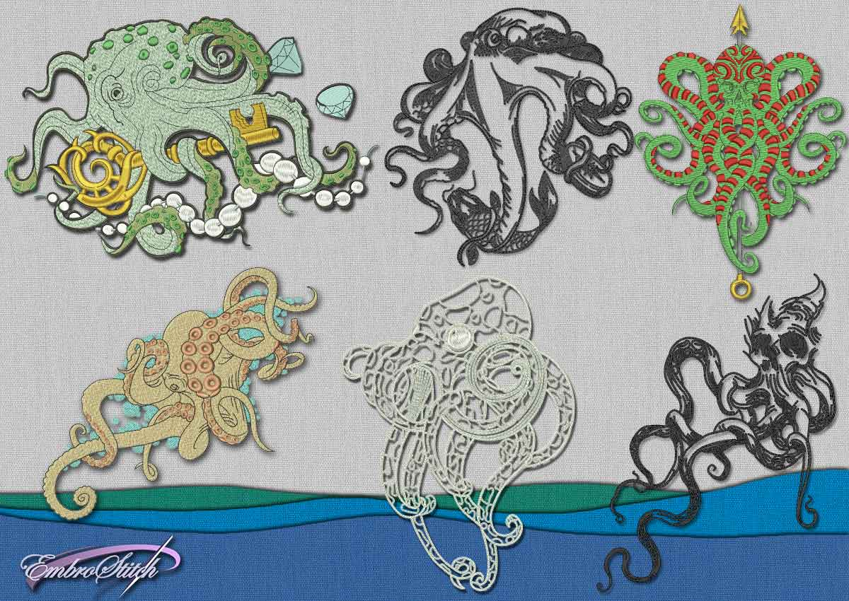 This Octopus Set design was digitized and embroidered by Embrostitch studio