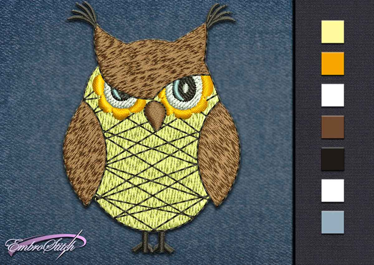 This Owl Angry design was digitized and embroidered by Embrostitch studio