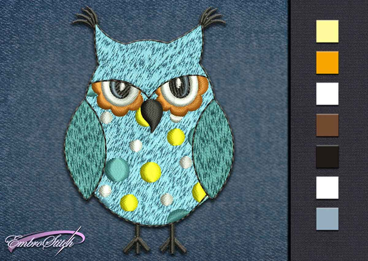 This Owl Blue Serious design was digitized and embroidered by Embrostitch studio