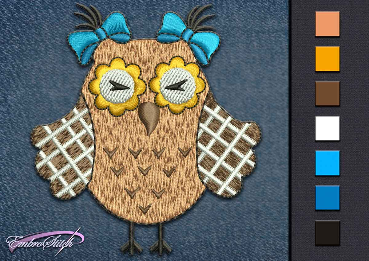 This Owl Bows design was digitized and embroidered by Embrostitch studio