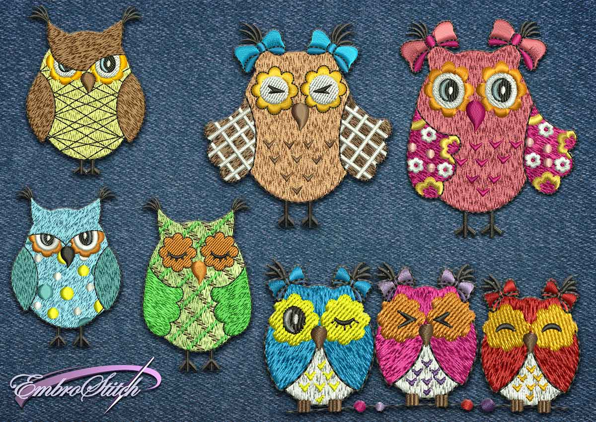 This Owl Bows Set design was digitized and embroidered by Embrostitch studio