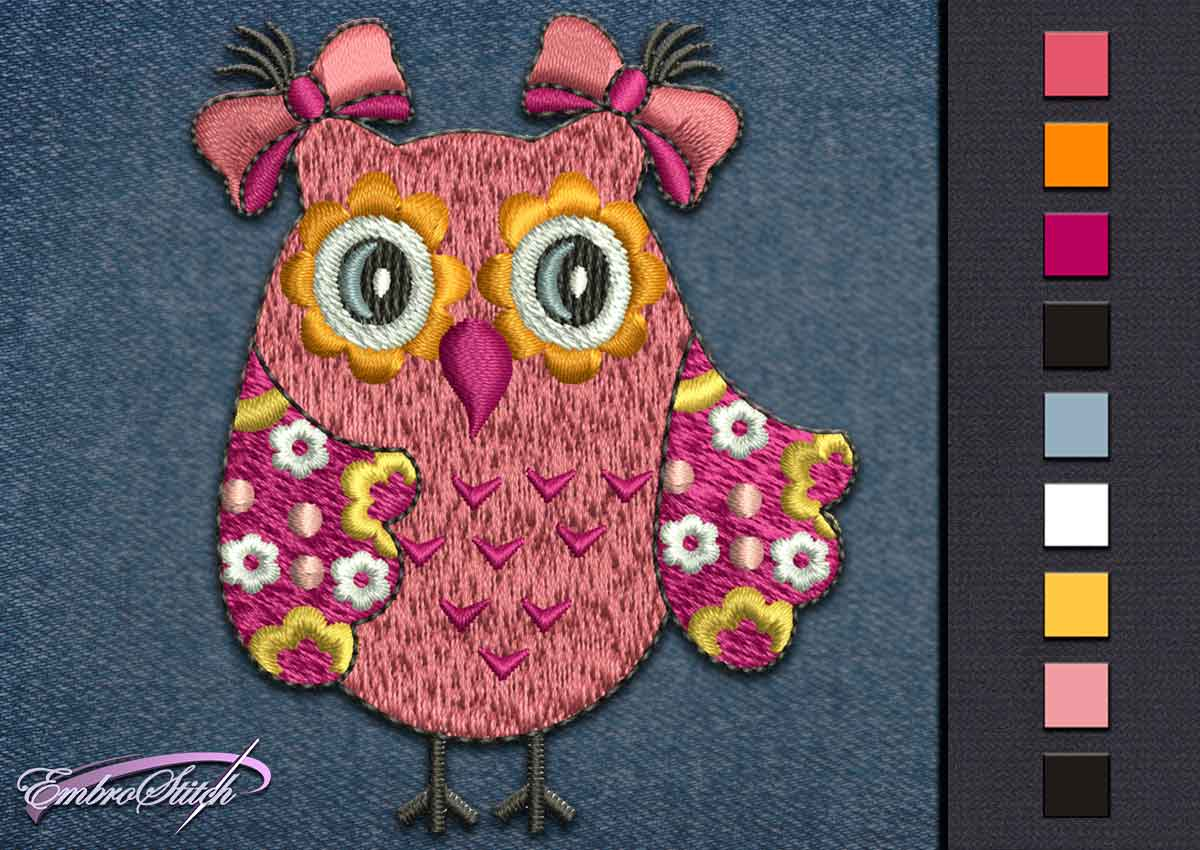 This Owl Flowers design was digitized and embroidered by Embrostitch studio