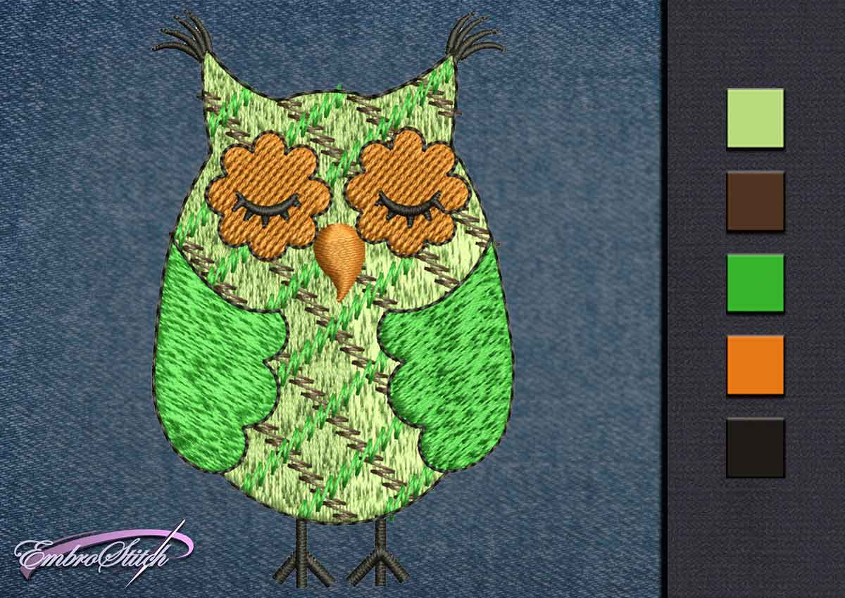 This Owl Green Sleeping design was digitized and embroidered by Embrostitch studio
