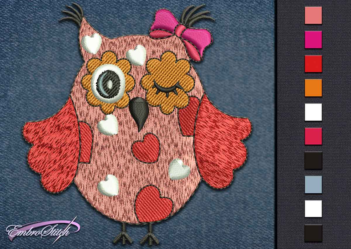 This Owl Love design was digitized and embroidered by Embrostitch studio