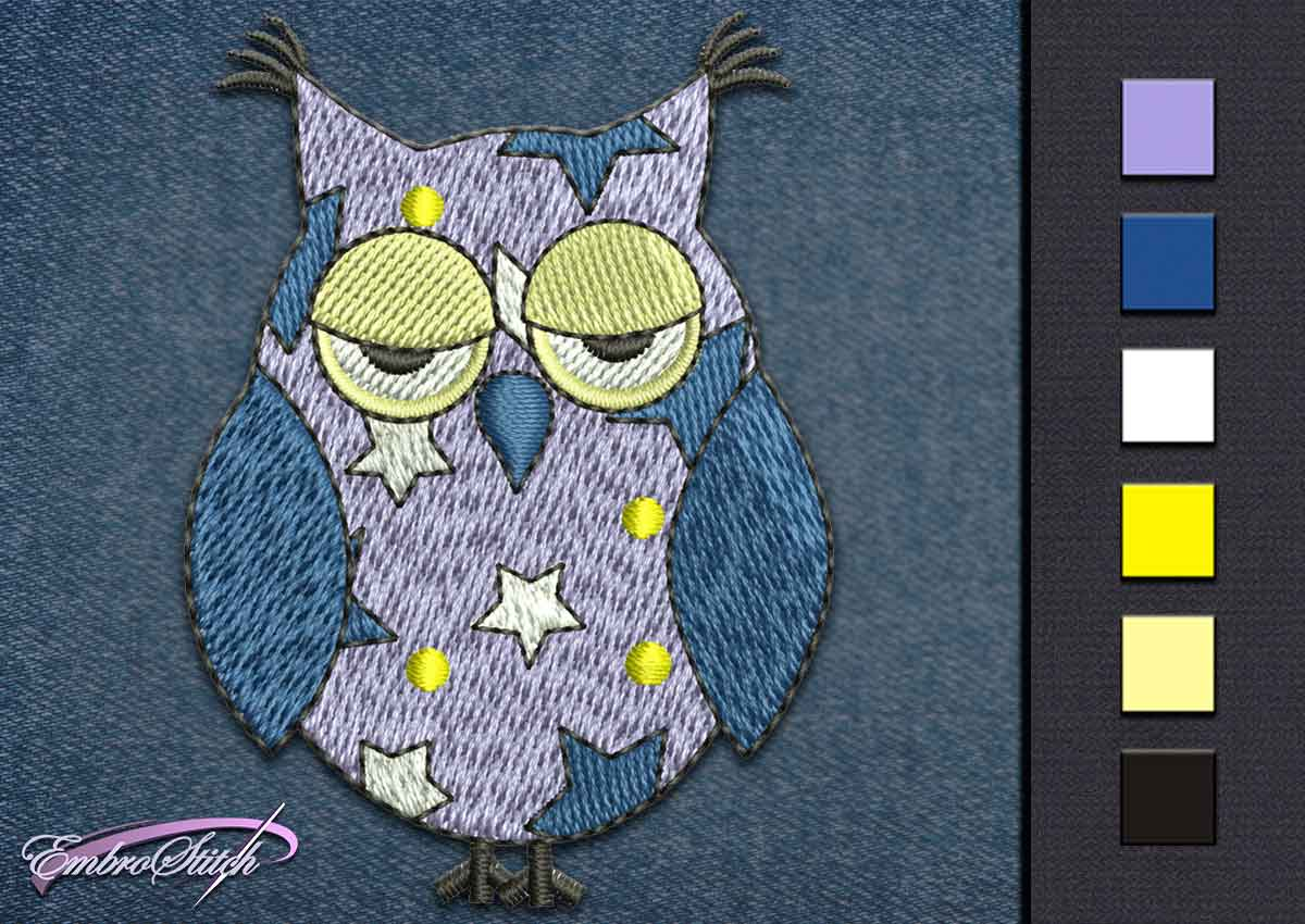 This Owl Stars design was digitized and embroidered by Embrostitch studio