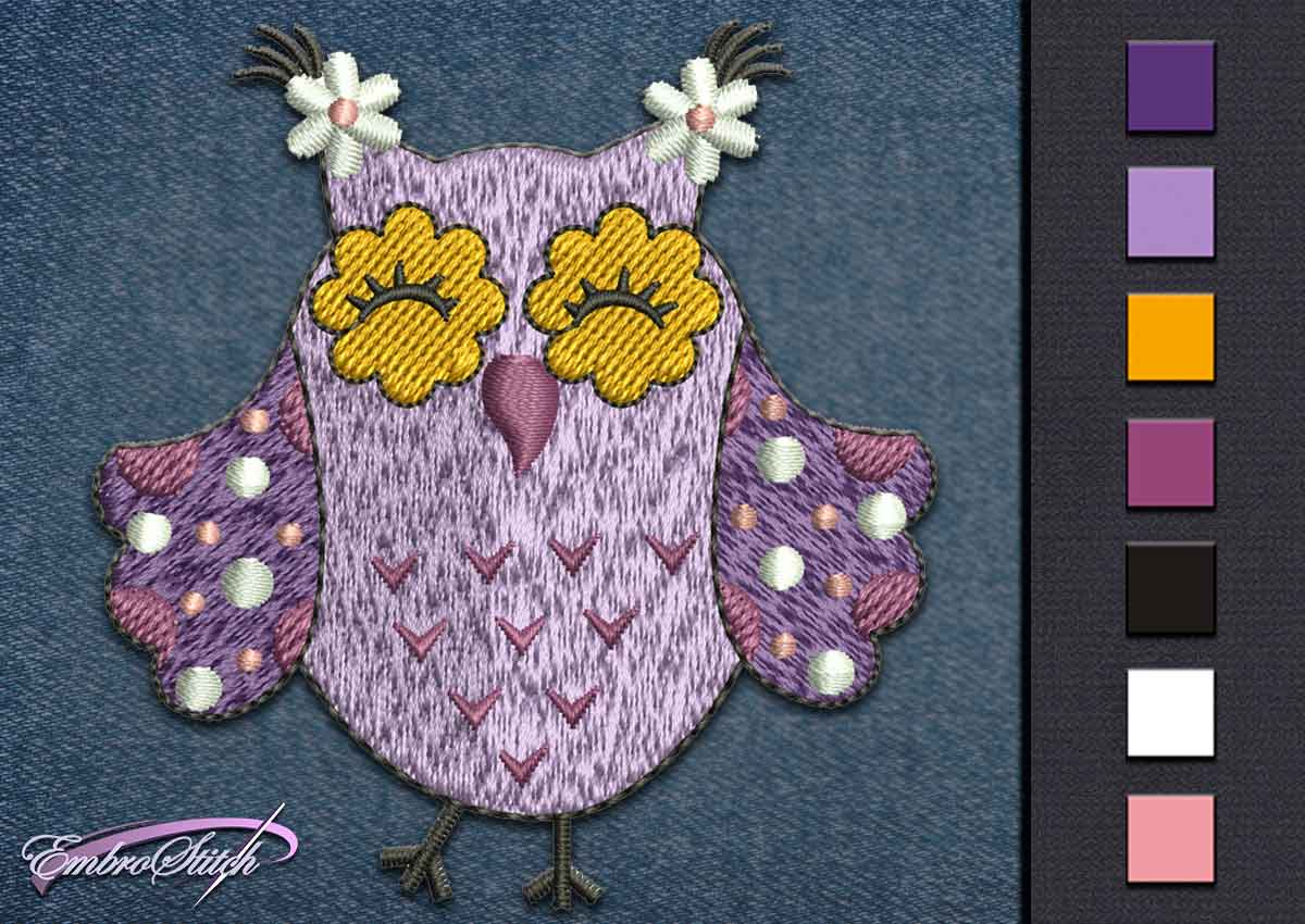 This Owl Violet Merry design was digitized and embroidered by Embrostitch studio