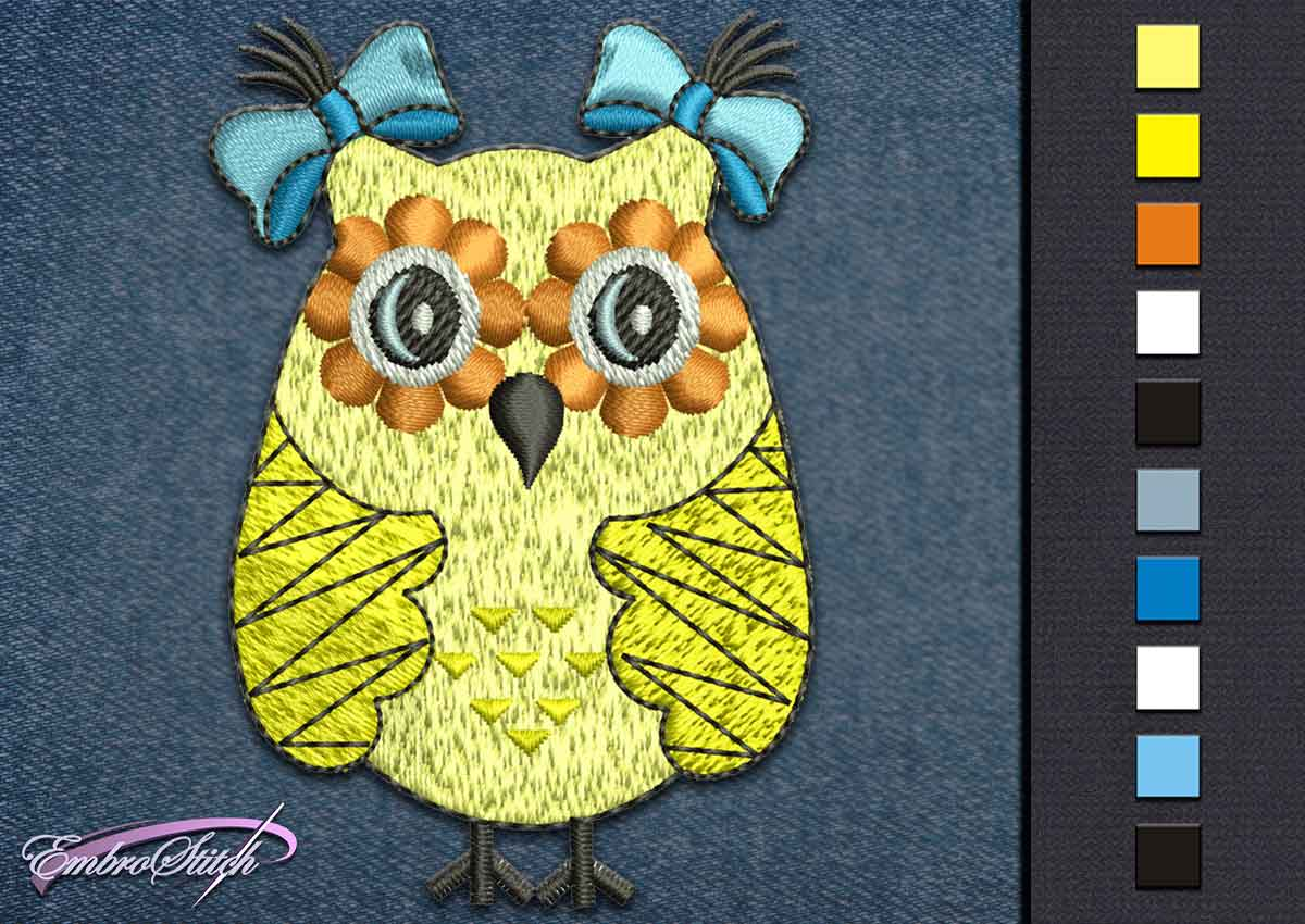 This Owl Yellow Bows design was digitized and embroidered by Embrostitch studio