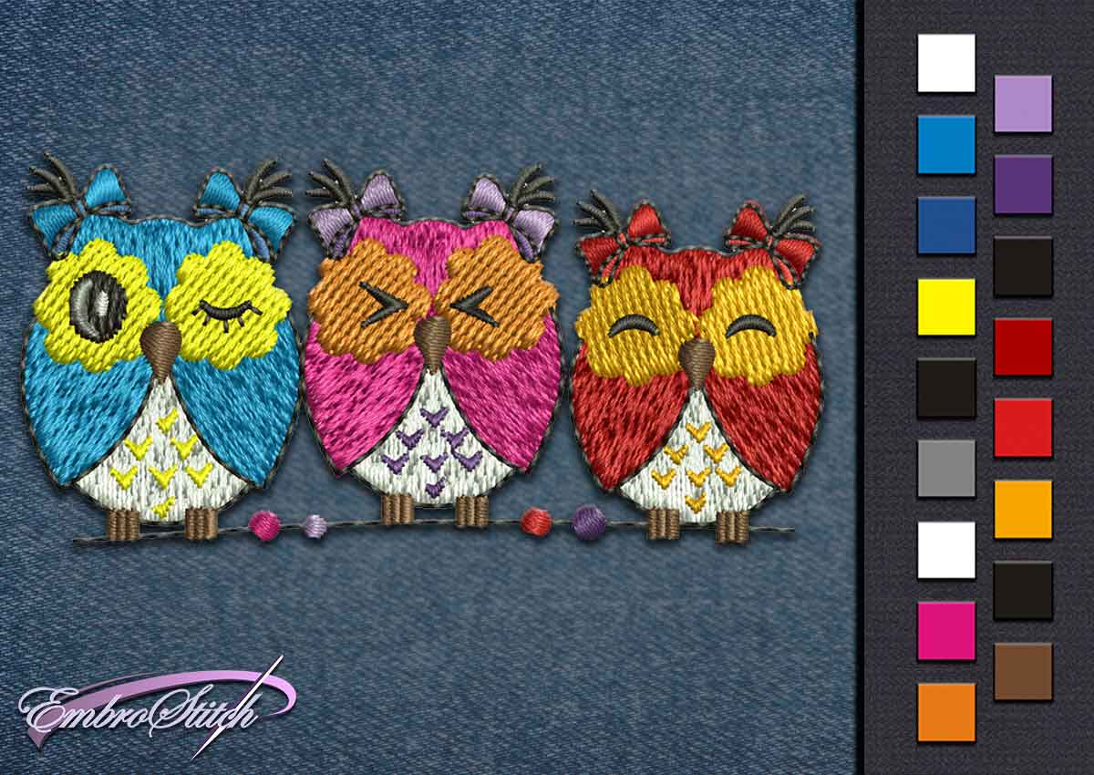 This Owls Family Bows design was digitized and embroidered by Embrostitch studio