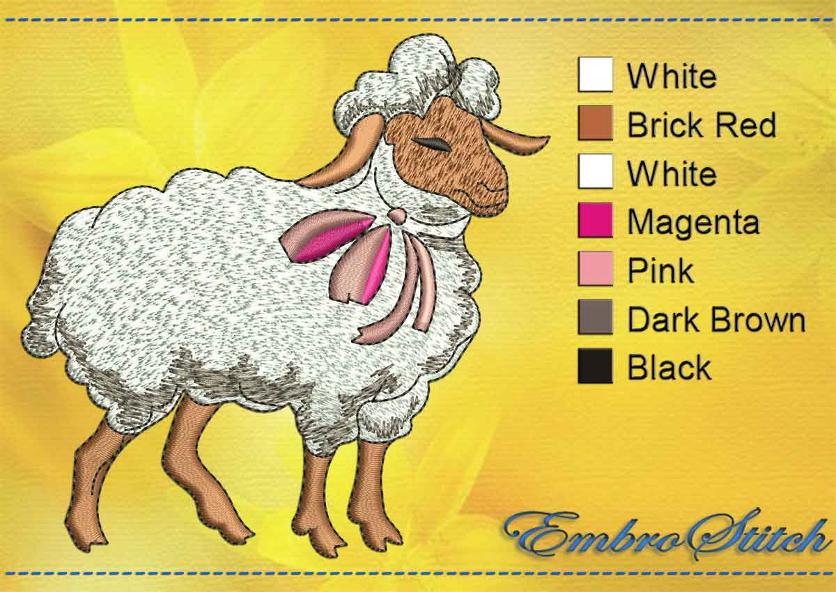 This Shy Sheep design was digitized and embroidered by Embrostitch studio