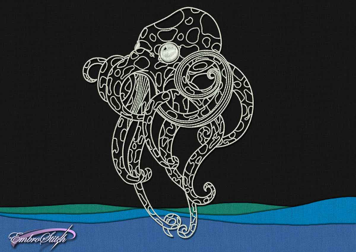 This Spotty Octopus design was digitized and embroidered by Embrostitch studio