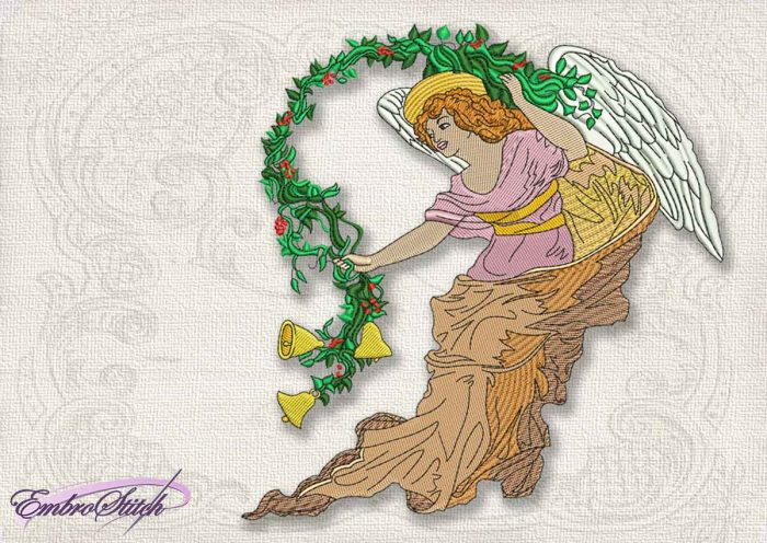 This Vintage Angel Bells design was digitized and embroidered by Embrostitch studio