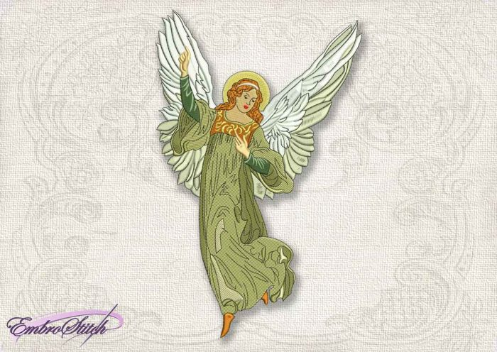 This Vintage Angel Christmas design was digitized and embroidered by Embrostitch studio