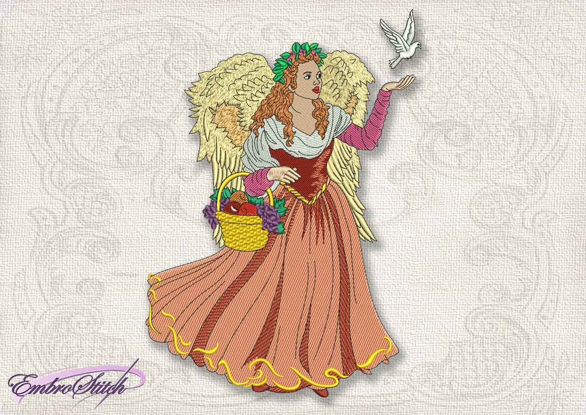 This Vintage Angel Dove design was digitized and embroidered by Embrostitch studio