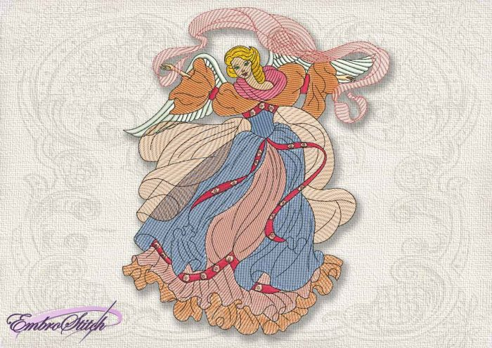 This Vintage Angel Fairy design was digitized and embroidered by Embrostitch studio