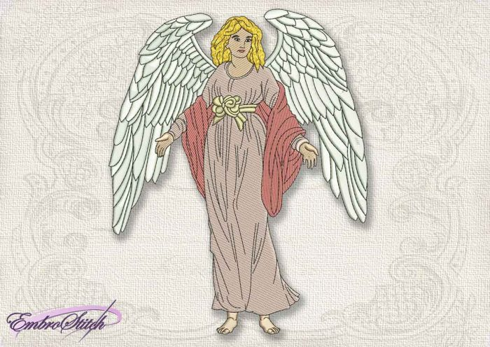 This Vintage Angel Holy design was digitized and embroidered by Embrostitch studio