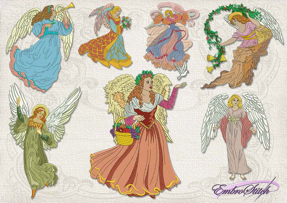 This Vintage Angel pack collection design was digitized and embroidered by Embrostitch studio