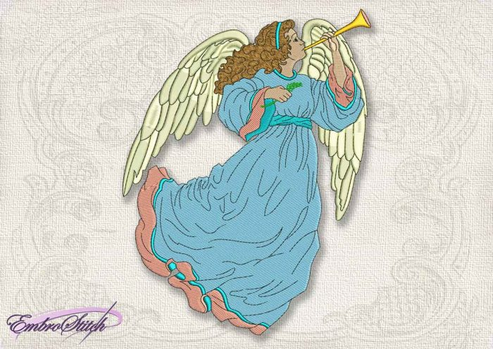 This Vintage Angel Trumpeting design was digitized and embroidered by Embrostitch studio