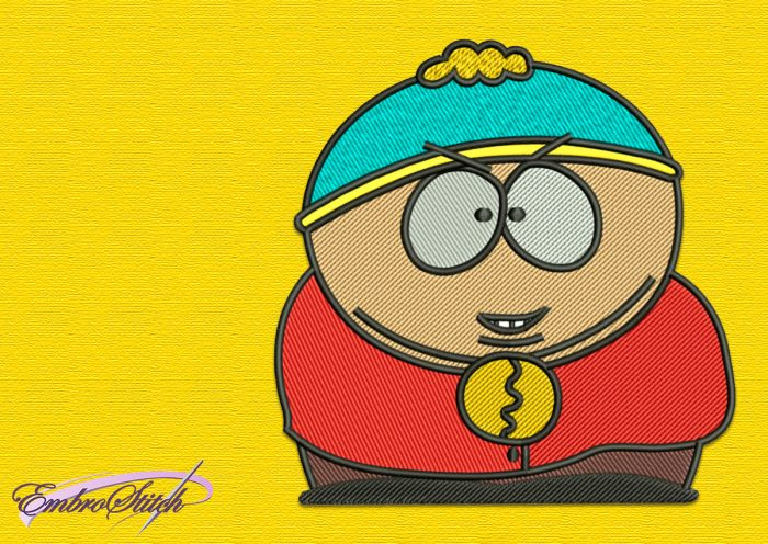The embroidery design Eric Cartman is almost round thanks to Eric's chubbiness