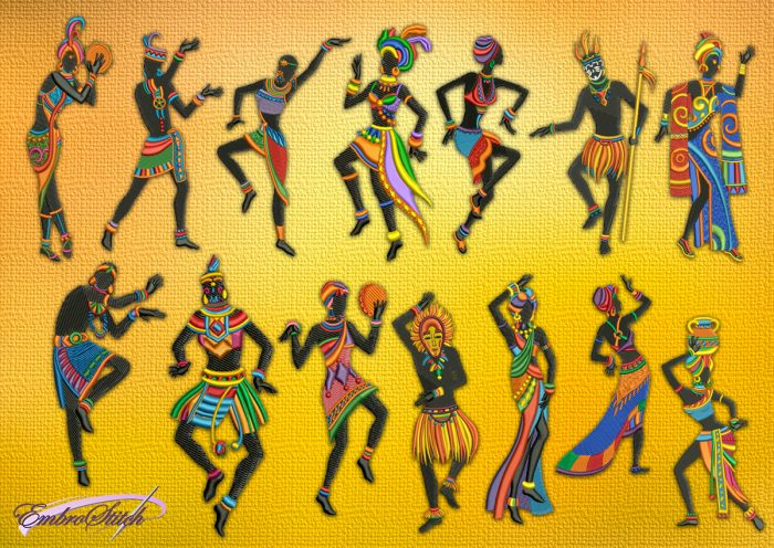 The pack of embroidery designs Ethical dancers contains 14 African silhouettes