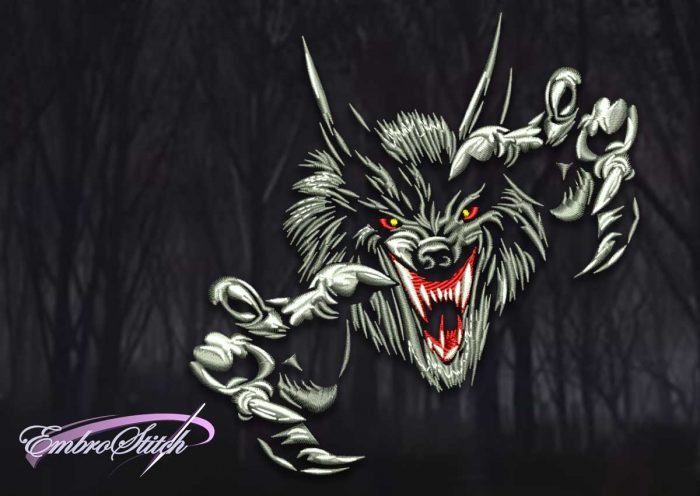 The high quality embroidery design Evil sharp-clawed wolf was created in three sizes.