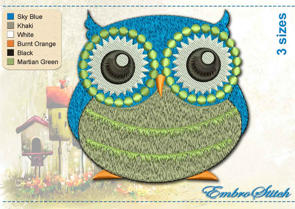This Eyed Owl design was digitized and embroidered by Embrostitch studio