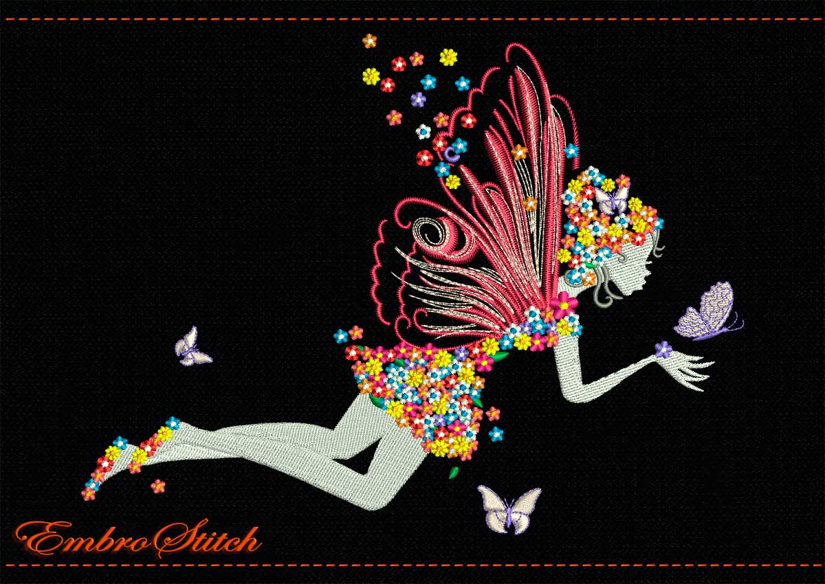 This Fairy Flowers Butterflies design was digitized and embroidered by Embrostitch studio