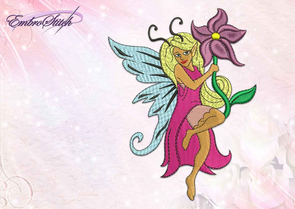 The professionally digitized embroidery design Fairy with flowers