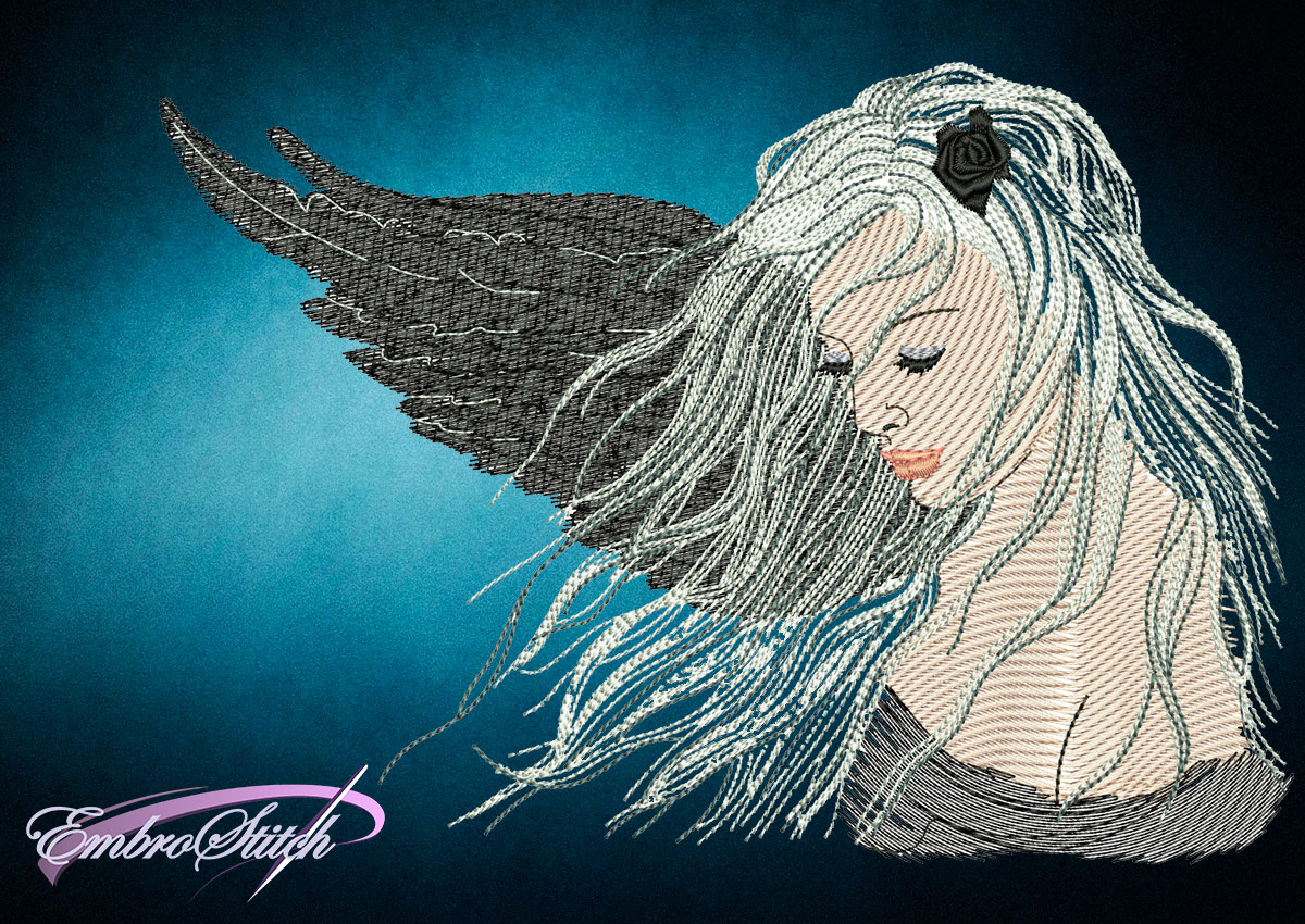 This Fallen Angel design was digitized and embroidered by Embrostitch studio