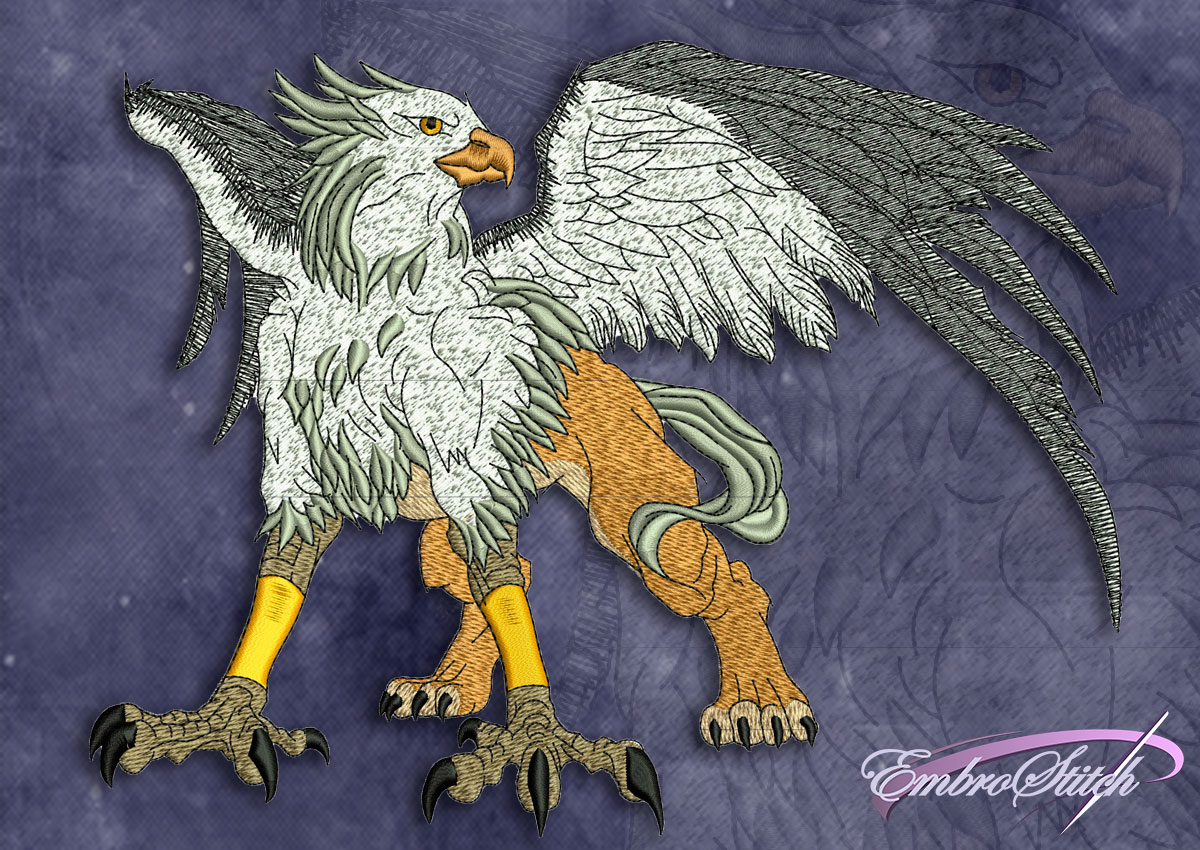 This Fantastic Griffon design was digitized and embroidered by Embrostitch studio