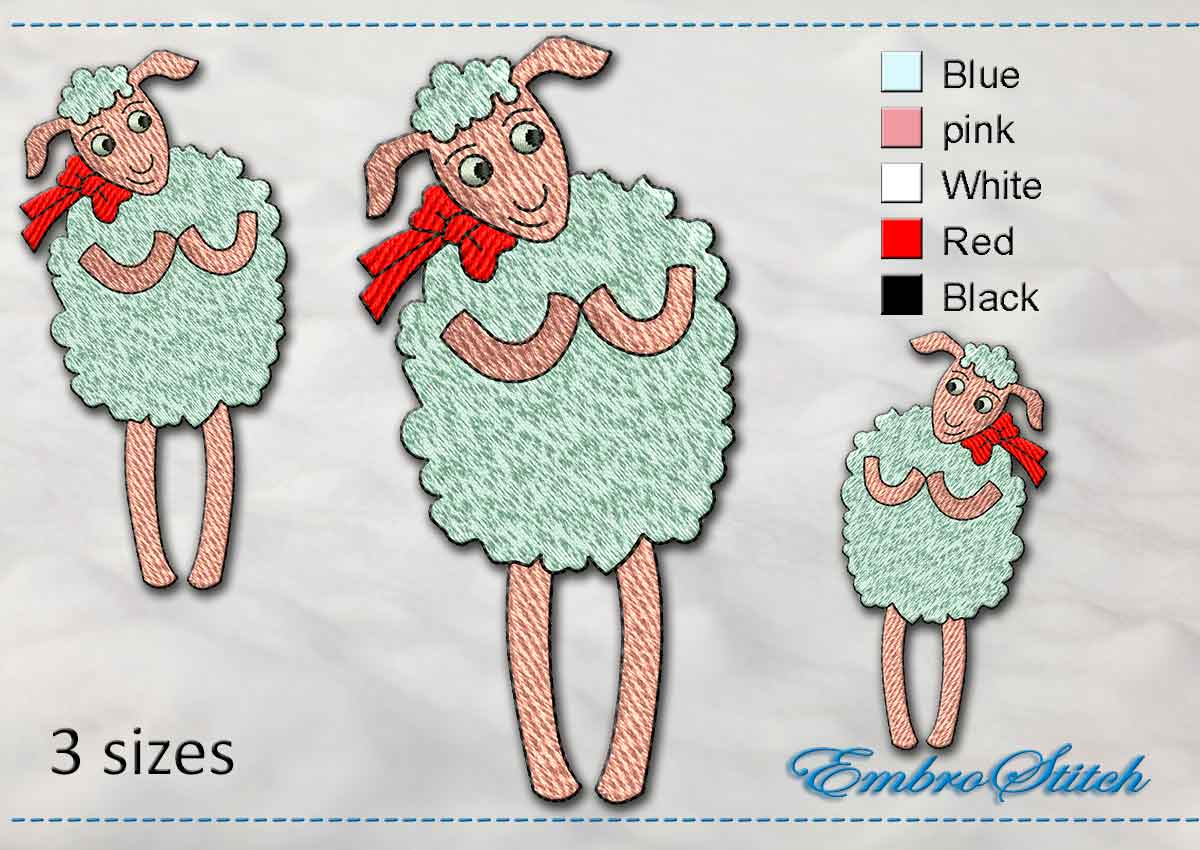 This Fashionable Sheep design was digitized and embroidered by Embrostitch studio