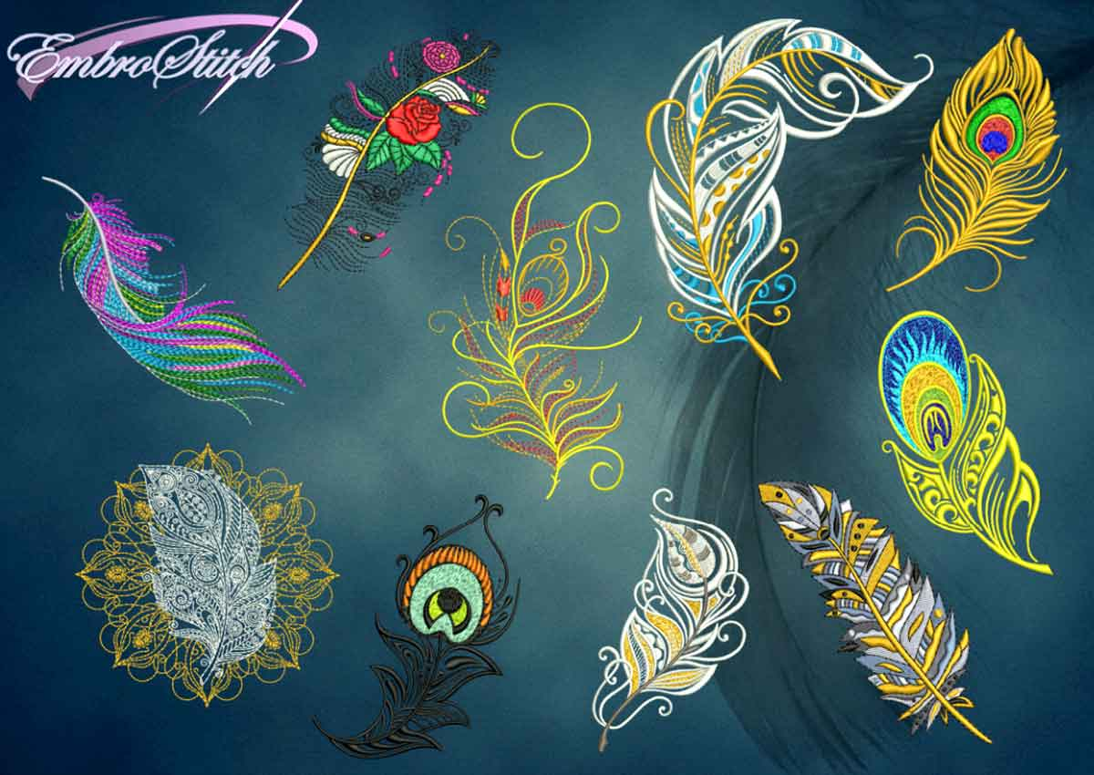 The pack of qualitative embroidery designs Feathers collection