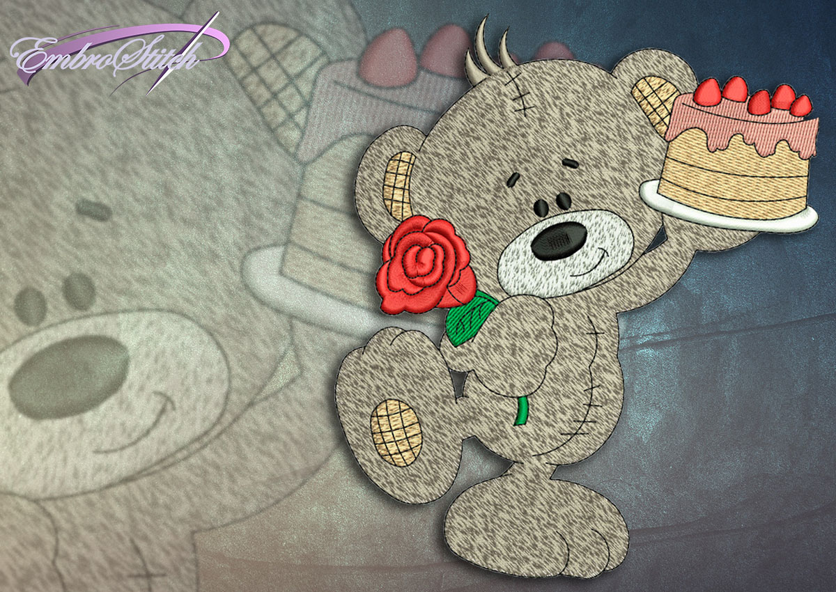 This Festive Teddy Bear design was digitized and embroidered by Embrostitch studio