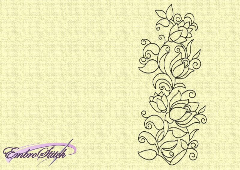 The embroidery design Floral decoration can be embroidered directly on clothes.