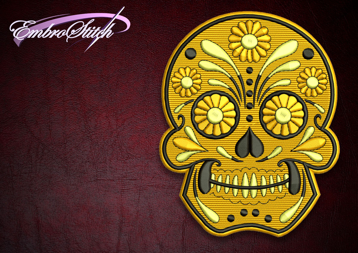 The high quality embroidery design Biker patch Floral Skull