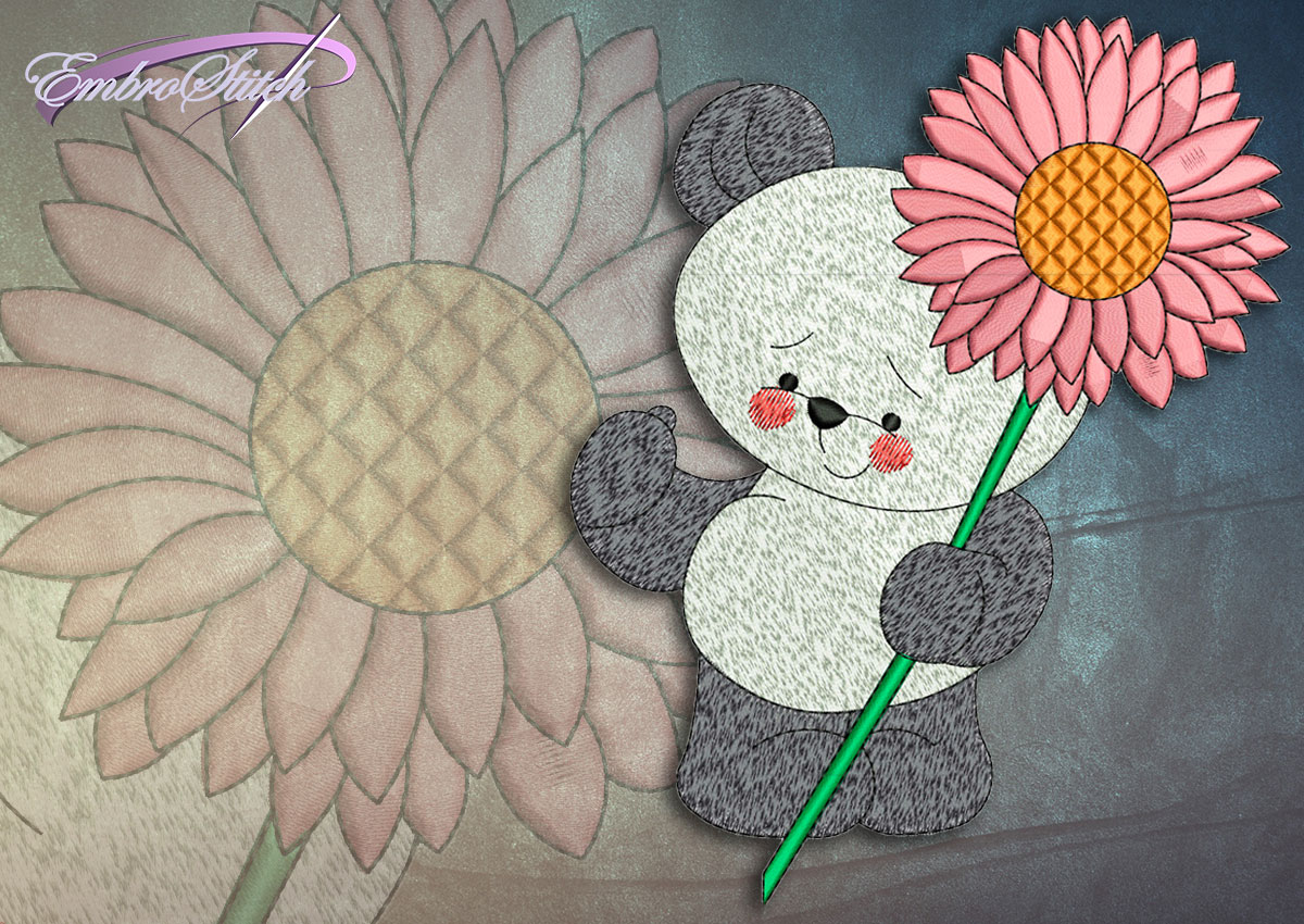 This Flower Bear design was digitized and embroidered by Embrostitch studio