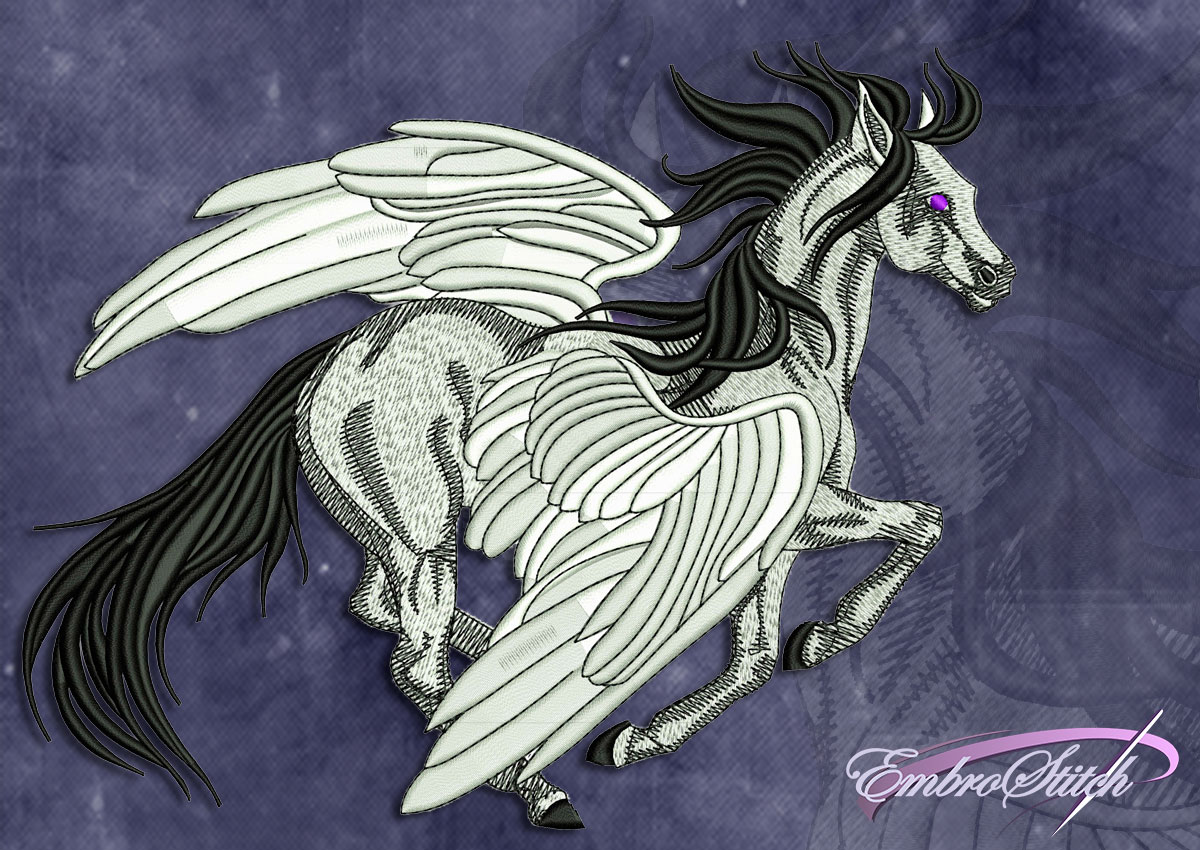This Flying Pegasus design was digitized and embroidered by Embrostitch studio