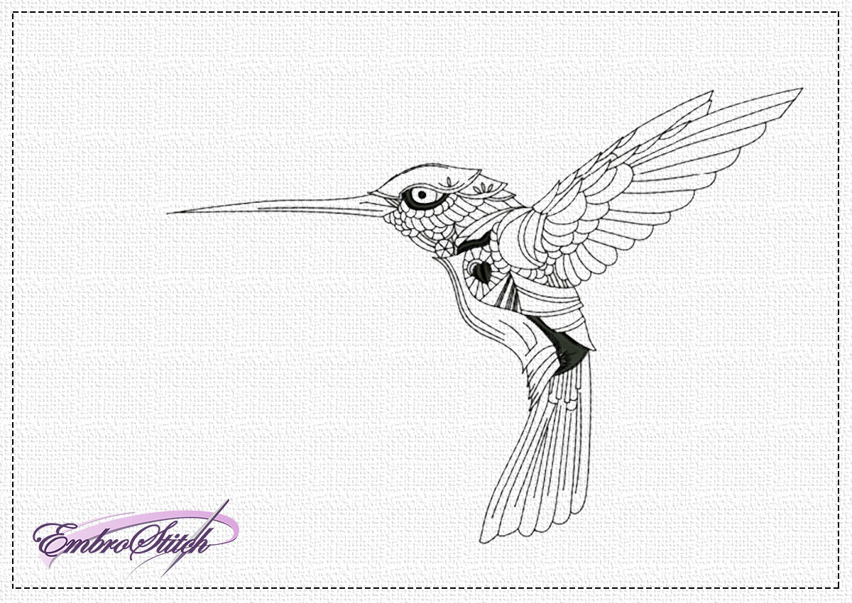 The high quality embroidery design Flying colibri