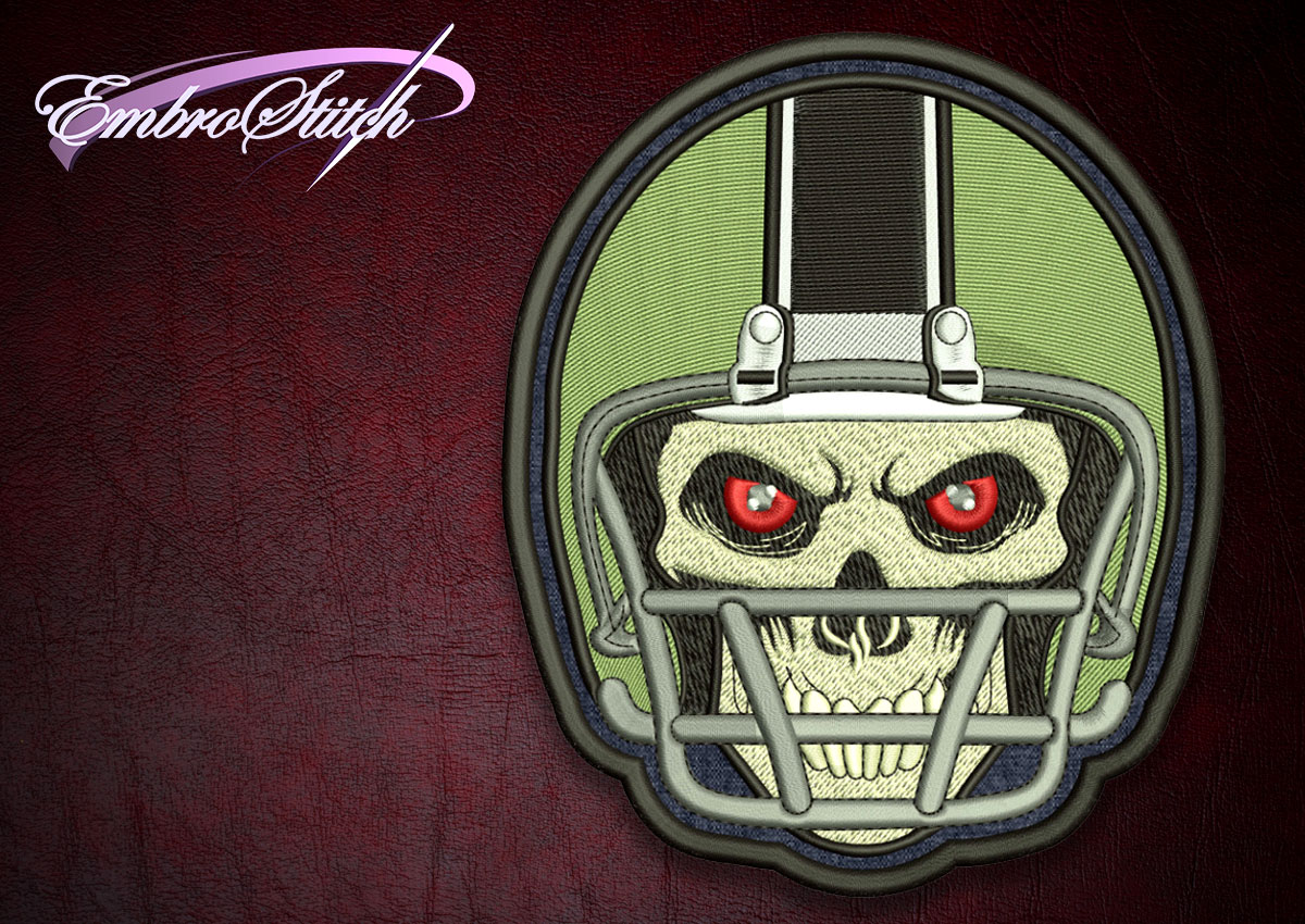 The high quality embroidery design Biker patch Football Skull
