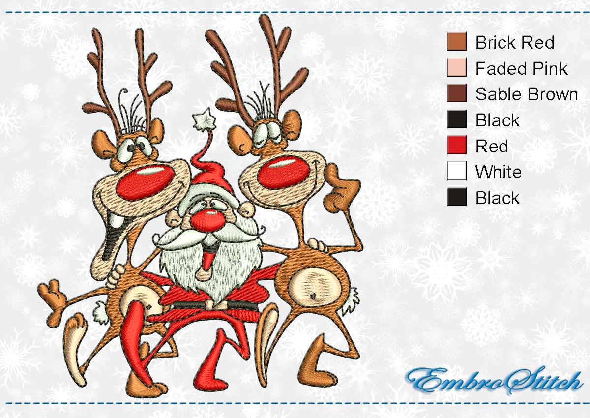 This Funny Reindeer Santa design was digitized and embroidered by Embrostitch studio