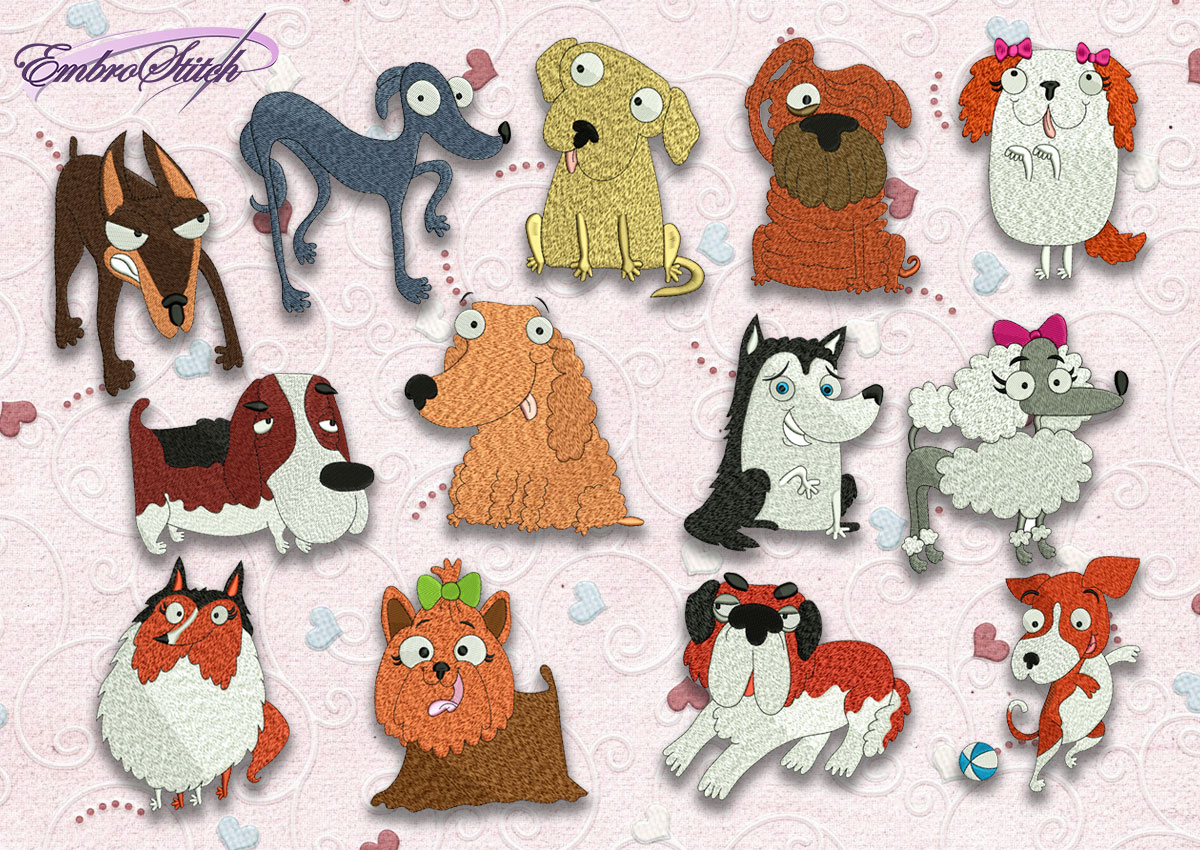 The pack of high quality embroidery designs Funny dogs