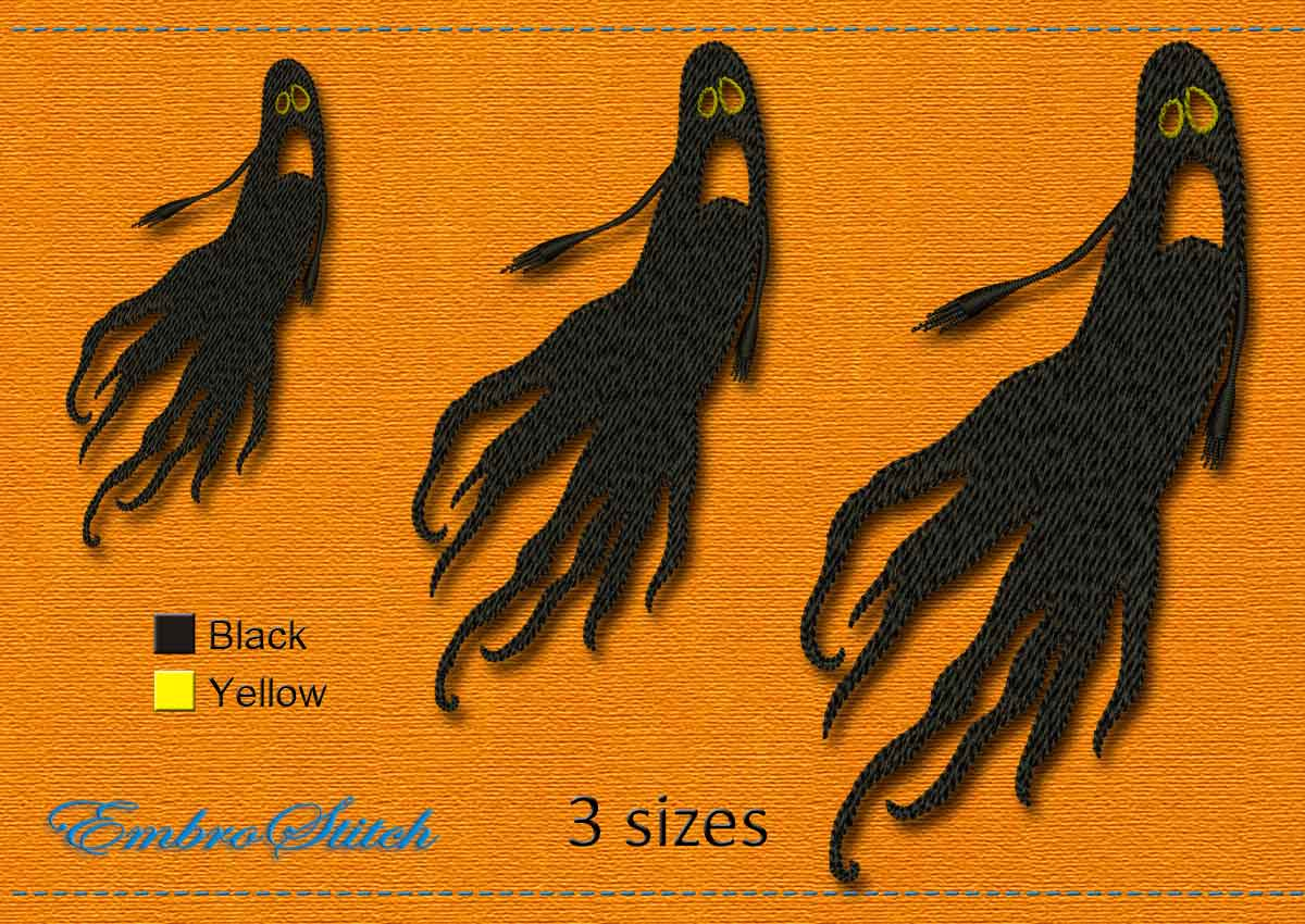 This Ghost Halloween design was digitized and embroidered by Embrostitch studio