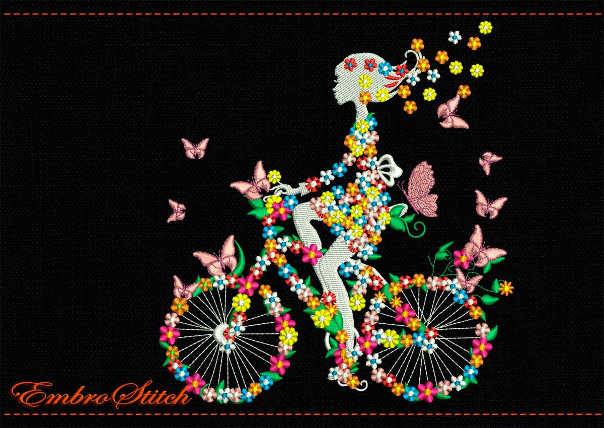 biking flower girl embroidery design 2 sizes 8 formats embrostitch