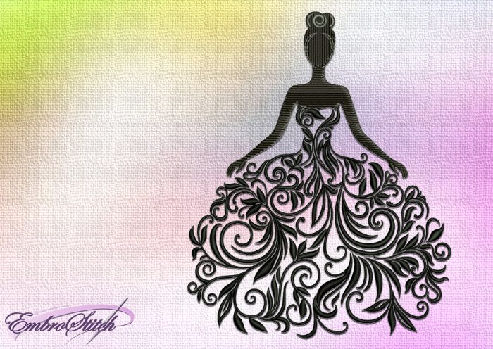 The embroidery design Girl in a dress made of leaves