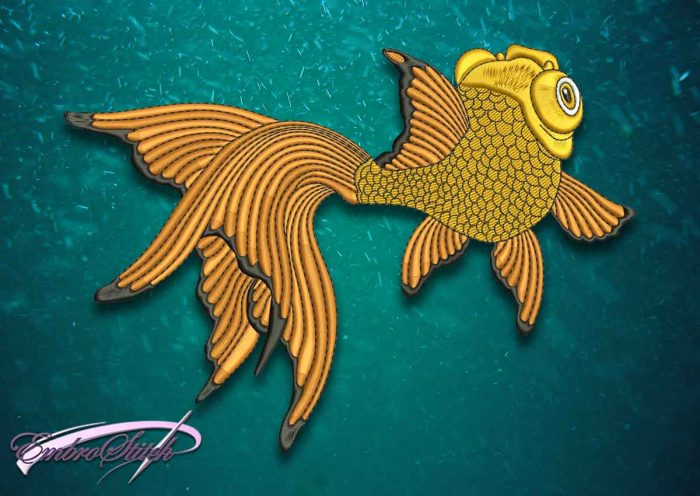 The superior quality embroidery design Goldfish Swimming Back