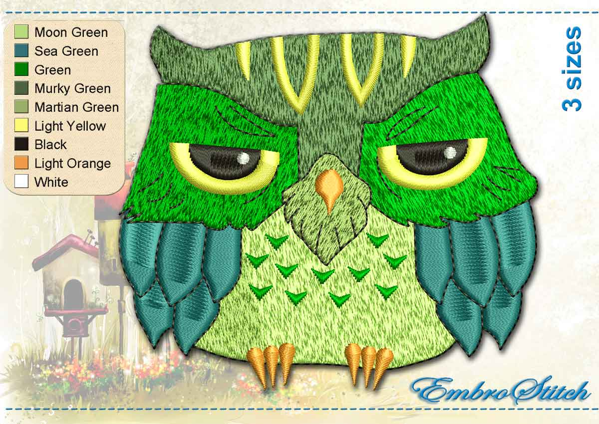 This Green Dozing Owl design was digitized and embroidered by Embrostitch studio