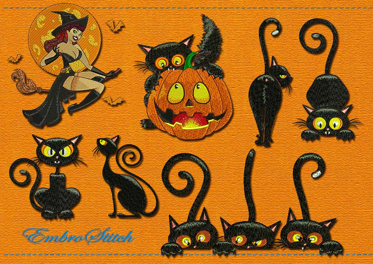This Halloween Cat Holiday Set design was digitized and embroidered by Embrostitch studio